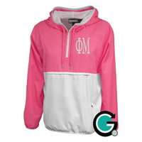 CUSTOM Monogram or Greek Letter Women's Colorblock Anorak Pullover - Great Gift! Perfect for Sororities!