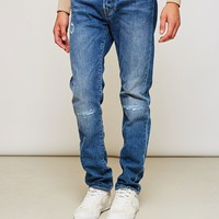 Edwin ED-80 Slim Tapered Jeans Deep Blue Denim Broken Wash