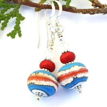 Southwest Lampwork Artisan Earrings, Magnesite Crystals Turquoise Ivory Red Jewelry