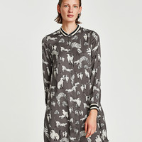 DRESS WITH CAT PRINT DETAILS
