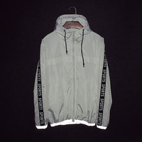 Double-layered Zippers Windbreaker Hoodies [9398111559]