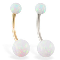 14K Solid Gold Gorgeous White Opal Belly Ring, Gold Navel Ring, White or Yellow Gold