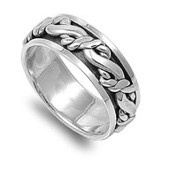 925 Sterling Silver Bonded Promise 9MM Spinner Ring