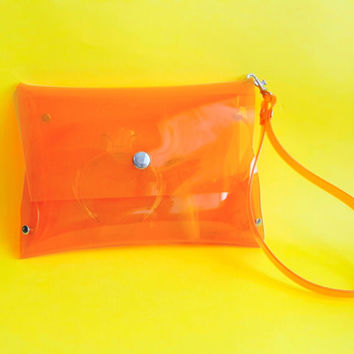 Orange wristlet  bag, clear stadium bag, orange minimalist clutch, gift for vegan, gift for NFL fans, clear neon bag,transparent plastic bag