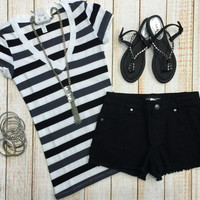 Thick Striped V-Neck Tee: Grey