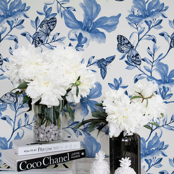 Temporary Blue Floral Wallpaper / Self Adhesive or Regular Flower Wallpaper /  Wall Mural / Nursery Wallpaper