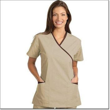 Fashion Seal Women's Fashion Poplin Cross-Over Tunic with Contrasting Trim - Tan, Chocolate