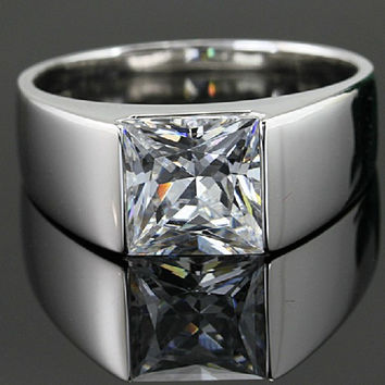 Awesome Male Ring 18K Solid White Gold 7*7 Synthetic Diamond Solitaire Princess Moissanite Engagement Ring Men 2CT Jewelry AU750