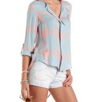 Peach Combo High-Low Plaid Pullover Top by Charlotte Russe