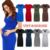 Vintagerose-Maternity Evening dress,pregnant Maternity Party office wear = 1946731268