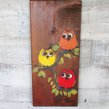 Owl Wall Hanging Vintage Owl Art Hand Painted Woodland Bird Folk Art Owl Vintage Owl Retro Owl Colorful Owl Wall Plaque Wooden Wall Art