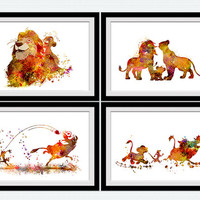 The Lion king set of 4 prints Set of 4 Disney posters Home decoration Kids room wall decor Nursery room print Christmas gift Set of 4 S9