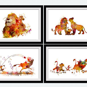 Beau The Lion King Set Of 4 Prints Set Of 4 Disney Posters Home Decoration Kids  Room