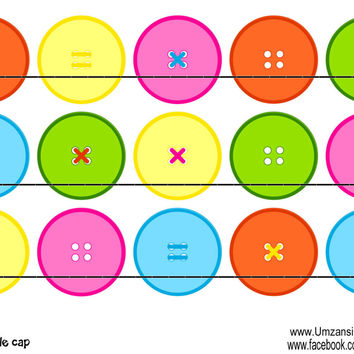 """Cute buttons Bottle Cap Images 1"""" Circles Instant Download Digital Emailed 4x6"""