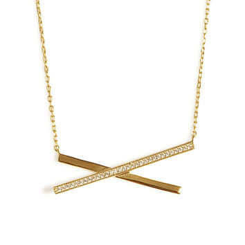 Criss Cross Necklace (Gold)