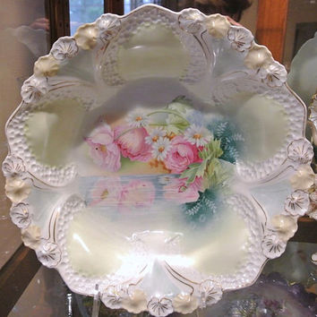 "RS Prussia Bowl Master Berry 10 1/2"" Antique Porcelain 1900s Victorian Art Nouveau Germany Reflecting Poppies Daisies Honeycomb Mold Bouquet"
