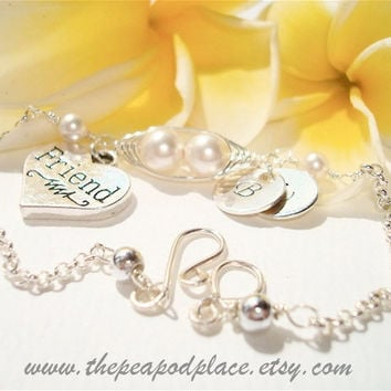 Personalized Friend bracelet - 2 peas in a pod with heart charm and two hand stamped initials on sterling silver discs