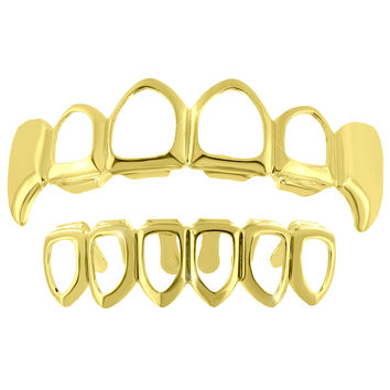 Cut Out Fangs Grillz Top Bottom Set 14k Yellow Finish Sale