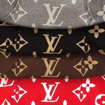 Louis Vuitton Trending Women Men Casual Print Hoodie Long Sleeve Pullover Top Sweater Sweatshirt (4 color) I