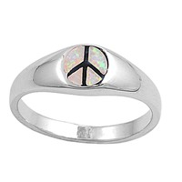 Sterling Silver Peace Sign Hippie 7MM White Lab Opal Ring