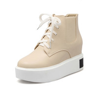 Ankle Boots for Women Platform Wedges Height Increasing Autumn Winter Lace Up Shoes Woman 9784