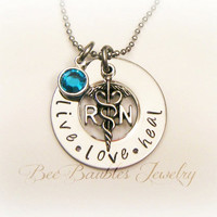 Hand Stamped Jewelry / RN necklace / Nurses / Nursing Student