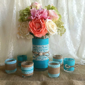 Tiffany blue burlap and lace covered votive tea candles and vase country chic wedding decorations, bridal shower decor