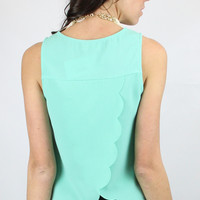 Fly Away with Me Sleeveless Top with Scalloped Flap Back - Mint