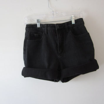 Black Denim Shorts Coldwater Creek Stretch Denim Cut Off Jean Shorts Womens Black Shorts Waist 30