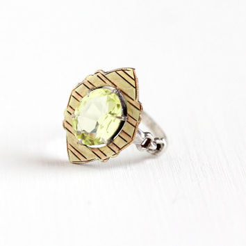 Vintage Sterling Silver , Rose & Green Gold Simulated Peridot Ring - Art Deco 1930s Size 5 1/4 Light Green Vaseline Uranium Glass Jewelry