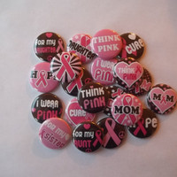 Breast Cancer Pink Ribbon flat back Buttons by Funcreations5
