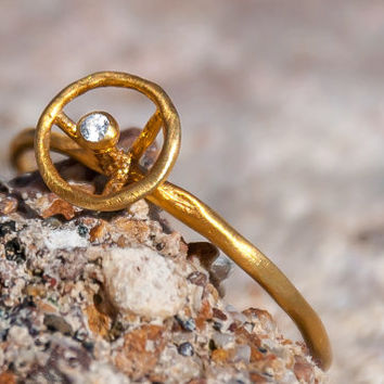 Solitaire Ring - Gold Hammered Ring - Birthstone Ring - Personalized Ring - Gemstone Jewelry - Unique Gold Ring
