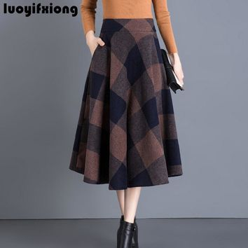 1d6d22113 Luoyifxiong Winter Vintage Wool Midi Skirts Womens Pleated Casua