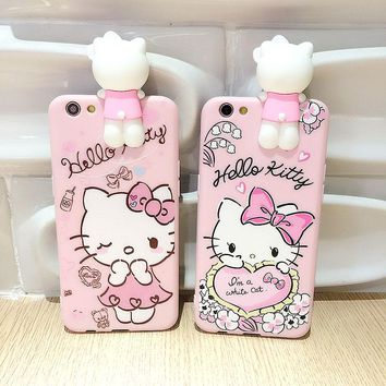 Luxury 3D Cute Hello Kitty Fundas case for iphone 7 7 Plus funny cartoon case for iphone 6 Plus Soft TPU cover girl Lover Daisy