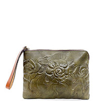Patricia Nash Cassini Rose Tooled Wristlet