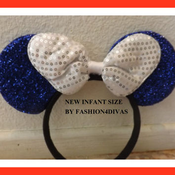 Baby infant size Minnie Mouse Ears Headband Blue with silver bow baby boy baby girl Halloween ONLY 1 MADE