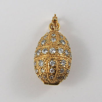 Sterling Silver Gold Wash Cubic Zirconia Egg Pendant
