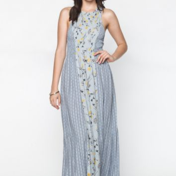 Desert Flower Floral Maxi Dress by Everly - Dusty Blue