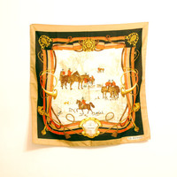 J.S. Germain Vintage Scarf With Image Of Hunting Scene, Equestrian Scarf