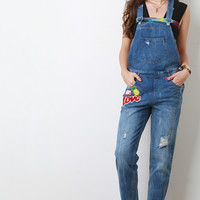 Distressed Faded Patch Overalls