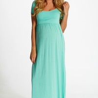Mint-Green-Solid-Short-Sleeve-Maternity-Maxi-Dress