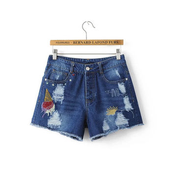 Summer Ice-cream Embroidery Ripped Holes Pattern Denim Pants Shorts [6332311876]