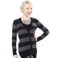 TRILLIAN RUGBY STRIPE CARDIGAN BLK/GRAY