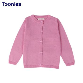 New Baby Children Clothing Boys Girls Candy Color Knitted Cardigan Sweater Kids Spring Autumn Cotton Outer Wear 10 Color