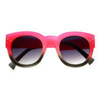 Two Tone Womens High Fashion Style Round Sunglasses R2240