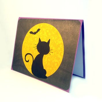 Happy Halloween card, black cat & full moon card, spooky Halloween cat, trick or treat card, halloween greeting card, black orange purple