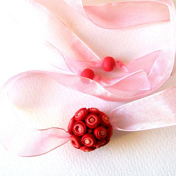 red choker necklace Rosebuds polymer clay necklace wedding bouquet, red pink focal bead necklace spring