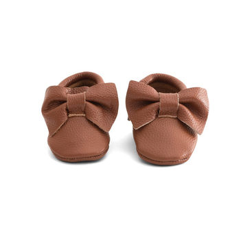 Bow Baby Leather Moccasins Brown Sugar