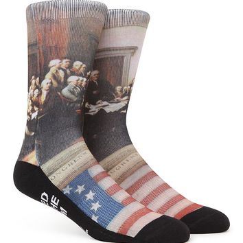 """New"" Socks Constitutional Rights Crew Socks - Mens Socks - Red/White/Blue - One"