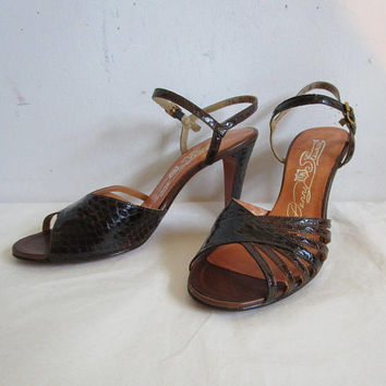 70s Snake Skin Sandals Vintage Dark Brown Leather 1970s High Heel Open Toe Shoes Womens Footwear 7.5A